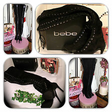 NIB-COUTURE BEBE TIGHT HIGH OVER THE KNEE BLACK LACE UP BOOTS! (SIZE 5)