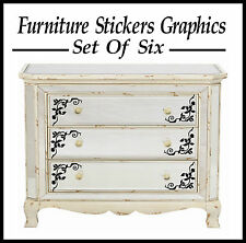 6 X FRENCH SCROLL STYLE FURNITURE STICKERS/ GRAPHICS/ WALL STICKERS?