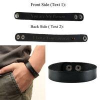 Personalised Text Engraved Men Genuine Leather Black Bangle Bracelet Wristband