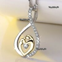 Infinity Mother Daughter Necklace 18K White Gold Gifts for Her Christmas J649