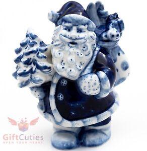 Gzhel Porcelain Figurine Ded Moroz Santa Claus w Christmas tree Happy New Year