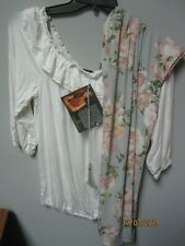 IMAN Women's White Shirt & Floral Pants Set Size XL BRAND NEW