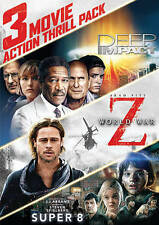 3 Movie Action Thrill Pack: World War Z/Super 8 (DVD, 2016, Missing Deep Impact)