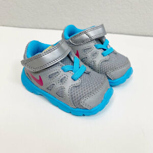 Nike Revolution Silver Gray Blue Sneakers 555092-064 size 2 Infant Baby Girl