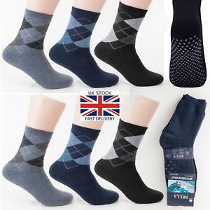 Mens non slip socks cotton rich men's argyle socks Gripper non slip 6-11