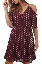 Topshop Spot Cold Shoulder Dress Sz 10 Burgundy Gold Metallic Polka Dots NEW $92