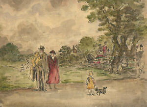 Harold Hope Read (1881-1959) - Watercolour, Figures in the Park