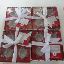 Lot of 16 Christmas Glass Snowflake Taper Holders Williams Sonoma