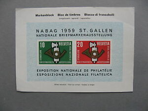 SWITZERLAND, non-postal S/S, press-information sheet 1959, NABAG 1959