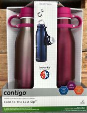 2x Contigo/Avex Vaccum Insulated Water Drink Bottle Mug 20oz 591ml BPAFree Pink