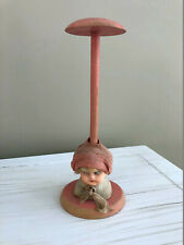 Antique Vintage German Girl Doll Head Wood Hat Stand Composition Face~1920-1930