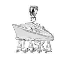 Sterling Silver ALASKA CRUISE SHIP Pendant / Charm, Made in USA