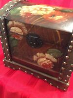 Hand Painted Wood Box Dome Lid Brads Nails + 2 Heart Boxes Decorative Set