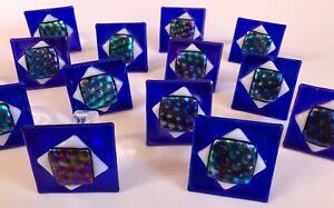 14 Napkin Ring Ring Holders Fused Art Glass Handmade J.A Meltzer Iridescent Blue