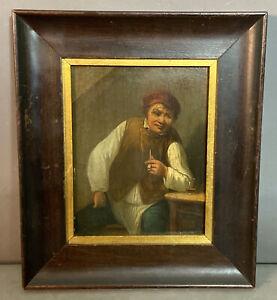 Ca.1900 Antique PUB SCENE Old GENTLEMAN w/ CHURCHWARDEN PIPE Portrait PAINTING