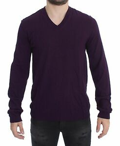 NEW $500 DOLCE & GABBANA Sweater Purple Rayon Logo V-neck Pullover Top IT46 / S