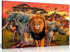 African Wildlife Children Bedroom Canvas Wall Art Picture Print