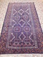 Purple Blue Wool Rug 5' x 9' Tribal design Namde Weavers Baluch Handmade Rug