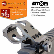 30mm Offset torch mount for Airgun, Rifle, Airsoft / 20mm Weaver offset mount