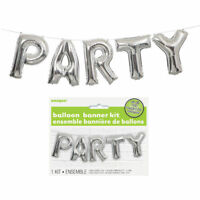 Party Balloon Banner Kit - Silver - Air Party Decoration Letters Birthday Set