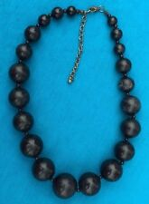 Vintage RETRO Estate find Black wooden ball Adjustible 18 strand necklace NR
