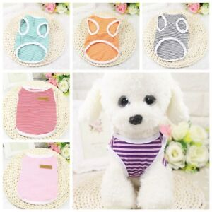 Dog Clothes Pet Puppy Striped Soft Cat Dog Clothing Dog Shirt Coat Vest Apparel
