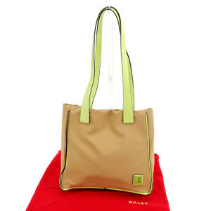 Bally Tote bag B logos Beige Green Woman Authentic Used Y3851