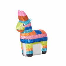 Pinata Donkey Fiesta Colorful Glass Ornament New