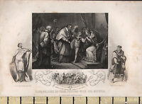 c1840 ANTIQUE PRINT ~ EDWARD DUKE OF YORK PARTING WITH HIS MOTHER LORD HASTINGS