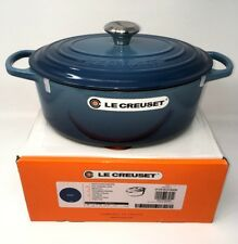 NIB Le Creuset Cast Iron 5-qt Oval French (Dutch) Oven, Marine (Ocean) Blue