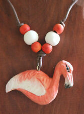 """Quality Hand Carved Wood Flamingo Painted Pendant Beads Max 15"""" Cord Necklace"""