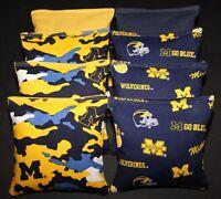 8 Cornhole Bean Bags made w University of MICHIGAN WOLVERINES Camo & Blue Fabric