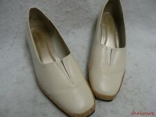 California Magdesians Wedge Cork Heel Shoes 9.5M Ivory Leather VGC