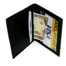 Black Men's Leather Small Bifold  Wallet Window ID Credit Cards Thin Holder