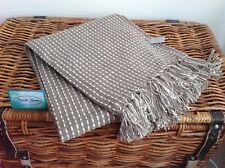 Gisela Graham Mocha Coffee Brown Tab stitch Coastal Cotton BLANKET THROW RUG
