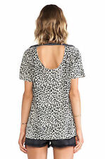 Chaser Leopard Animal Print Open Back Lace Tee Tank size M NEW
