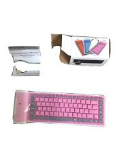 Flexible 87 Keys Bluetooth  Roll up Silicone Keyboard Pink for Tablet Or Phone