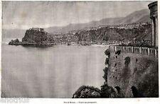 Scilla: Panorama. Grande Veduta. Stretto di Messina.Calabria. Stampa Antica.1886