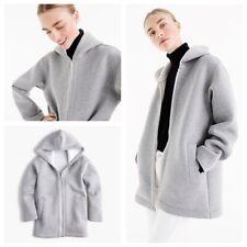 J Crew Scuba Jacket Light Gray SOFT Hooded Full Zip Sweatshirt Size XS Workout