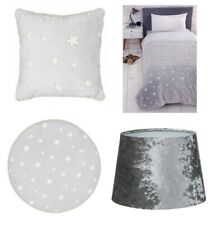 Glow In The Dark Childrens Bedroom Grey Stars Rug Cushion Soft Throw Lampshade