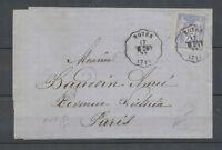 1876 Lettre 25c Sage obl Conv. Station  Noyer, ANG.M. à l'envers SARTHE X4706