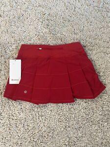 Sz 4 NWT Lululemon Pace Rival Mid Rise Skirt Dark Red *Reg Length