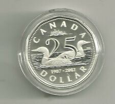 1987-2012 25th Anniversary of the Loon Proof Silver COA-CASE-BOX