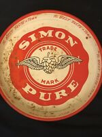 """SIMON PURE Beer / Old Abbey Ale Metal Serving Tray 1950s Canco Mfg 13"""""""
