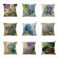 Vintage Hydrangea Flower Sofa Waist Throw Pillow Case Cushion Cover Home Decor