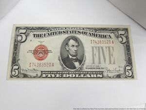 1928 F Crisp 5 Dollar $5 Red Seal Currency American Bank Note Superb Condition