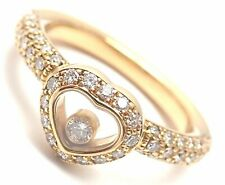 Authentic! Chopard 18k Yellow Gold Diamond Happy Heart Band Ring