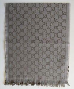 GUCCI men scarf shawl GG Guccissima 35x180 cm 100% wool biege