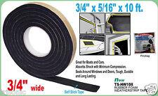 "RUBBER FOAM WEATHER SEAL SELF STICK TAPE WEATHER STRIP 3.4"" X 5/16"" X 10FT BLACK"