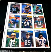 1987 Topps Football UNCUT 9 Card SHEET Panel With JIM EVERETT Rookie Card #145